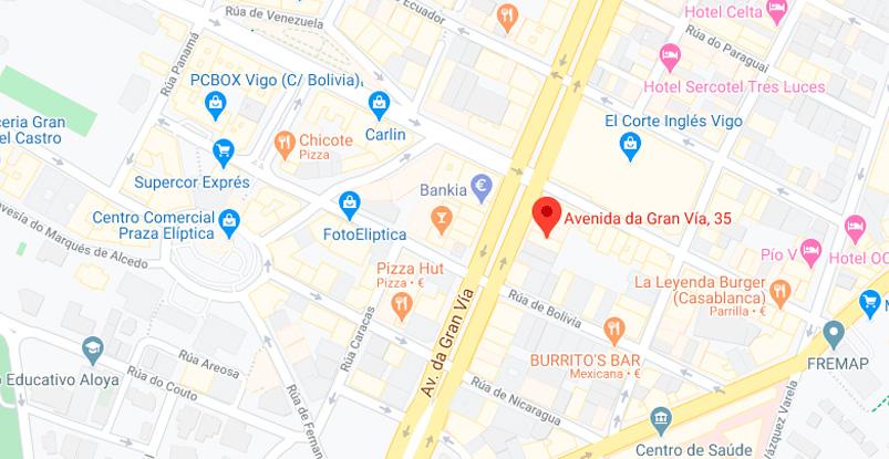 mapa dirección Clínica Imaya Vigo